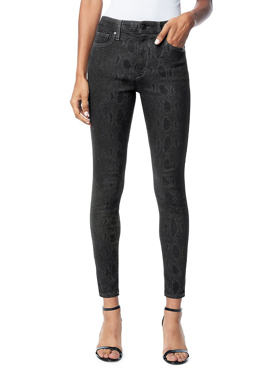 JOE'S JEANS WOMEN'S THE CHARLIE HIGH-RISE COATED SNAKE-PRINT ANKLE SKINNY JEANS
