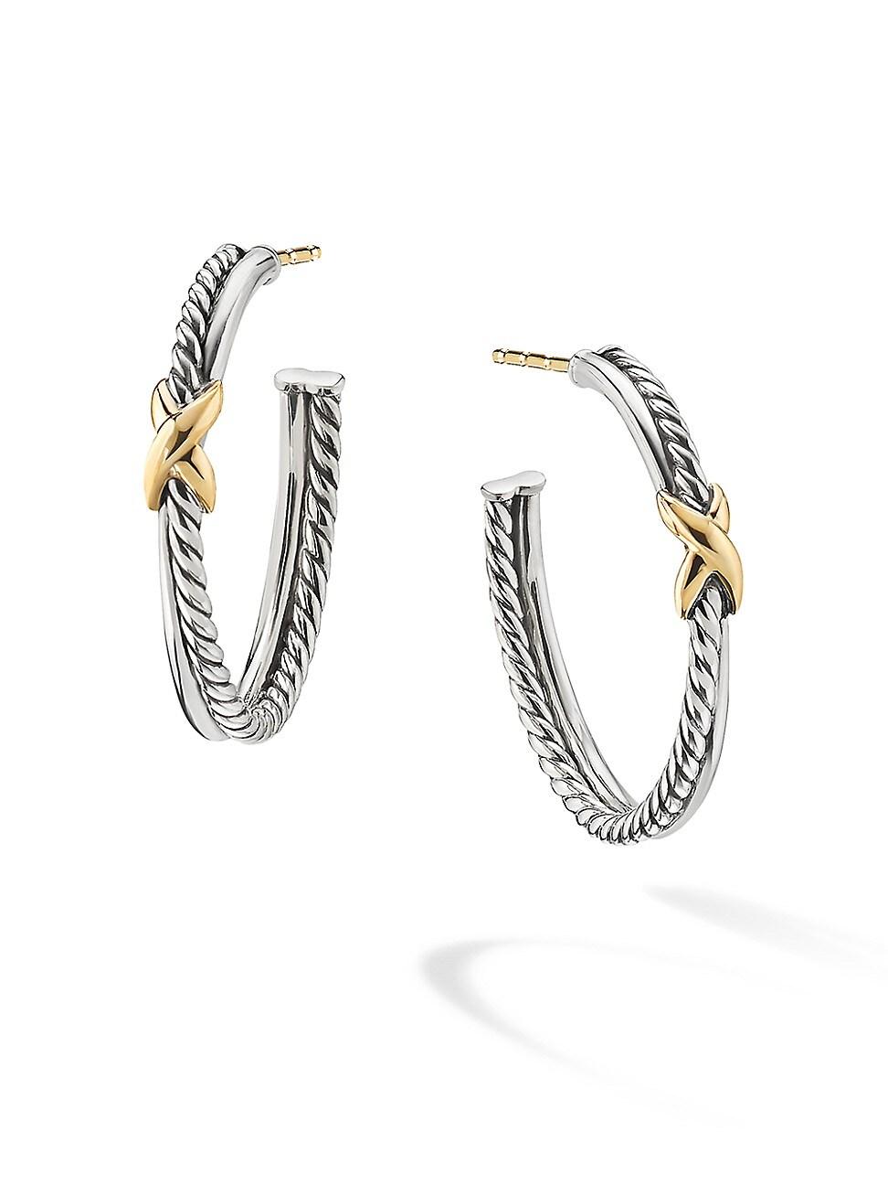 David Yurman Accessories WOMEN'S PETITE X HOOP EARRINGS WITH 18K YELLOW GOLD