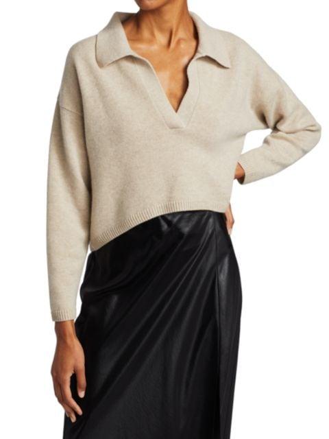 Naadam Cropped V-Neck Cashmere Polo Sweater | SaksFifthAvenue