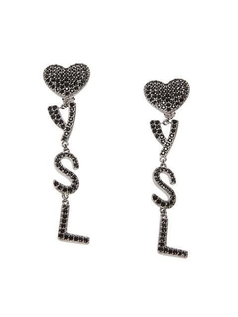 Monogram Heart Crystal Drop Clip Earrings