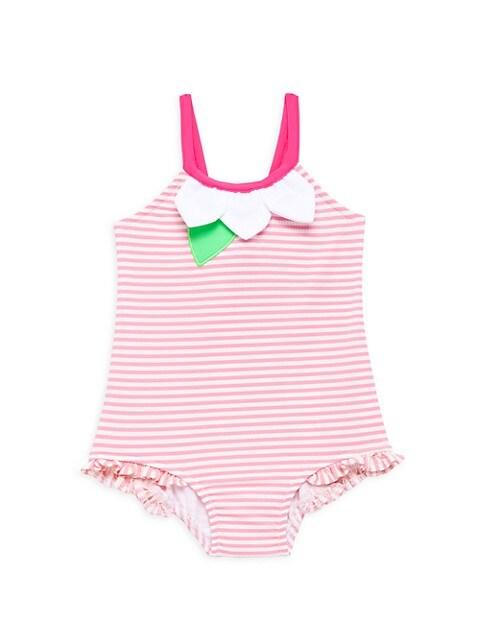 Little Girl's Striped Seersucker One-Piece Swimsuit
