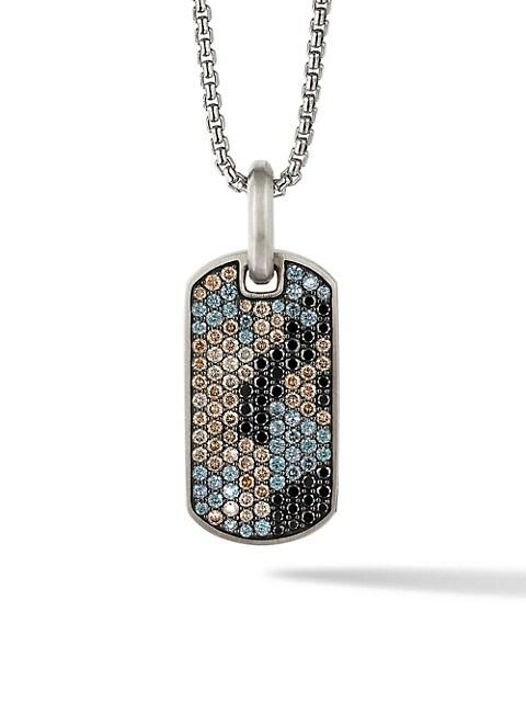 Sterling Silver, Pavé Diamond & Garnet Camo Enhancer Tag