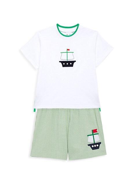 Little Boy's 2-Piece Pirate Ship Seersucker Check Short Set