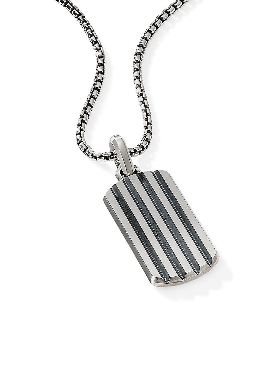 DAVID YURMAN Accessories BEVELED CABLE CLASSIC STERLING SILVER TAG ENHANCER PENDANT
