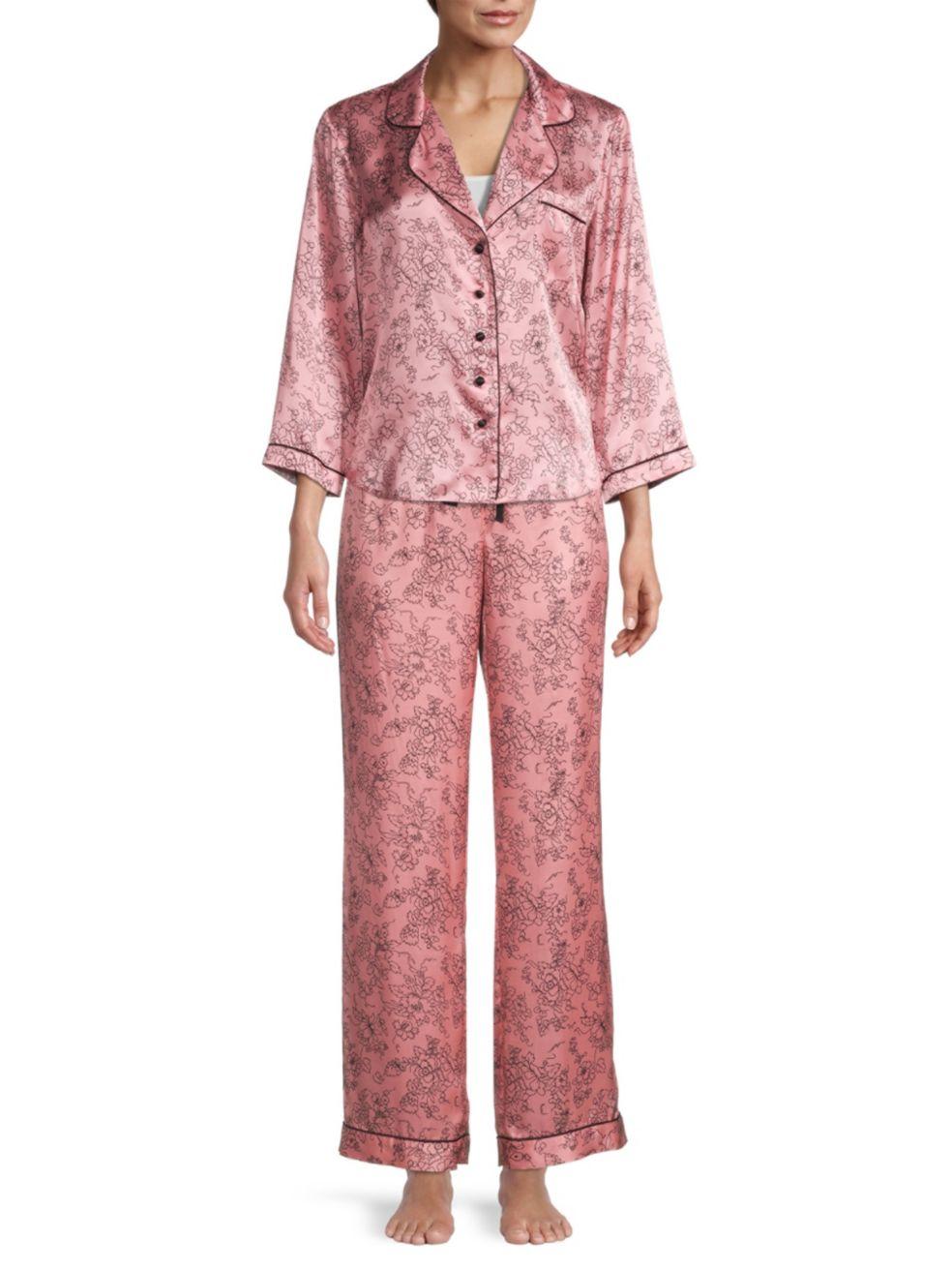 Morgan Lane Forbidden Rose Silk-Blend Pajama Pants | SaksFifthAvenue