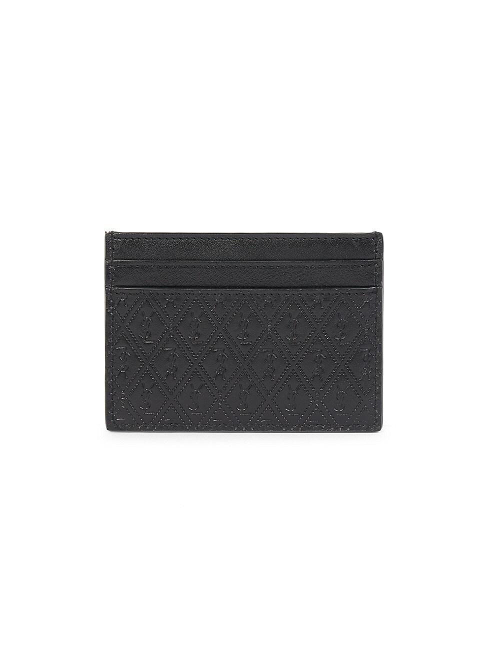 생 로랑 Saint Laurent Embossed Logo Leather Card Holder,NERO