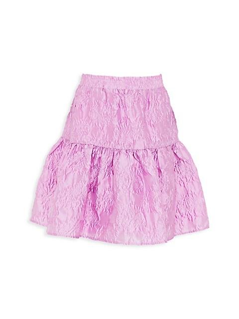Girl's Floral Jaquard Tier Skirt