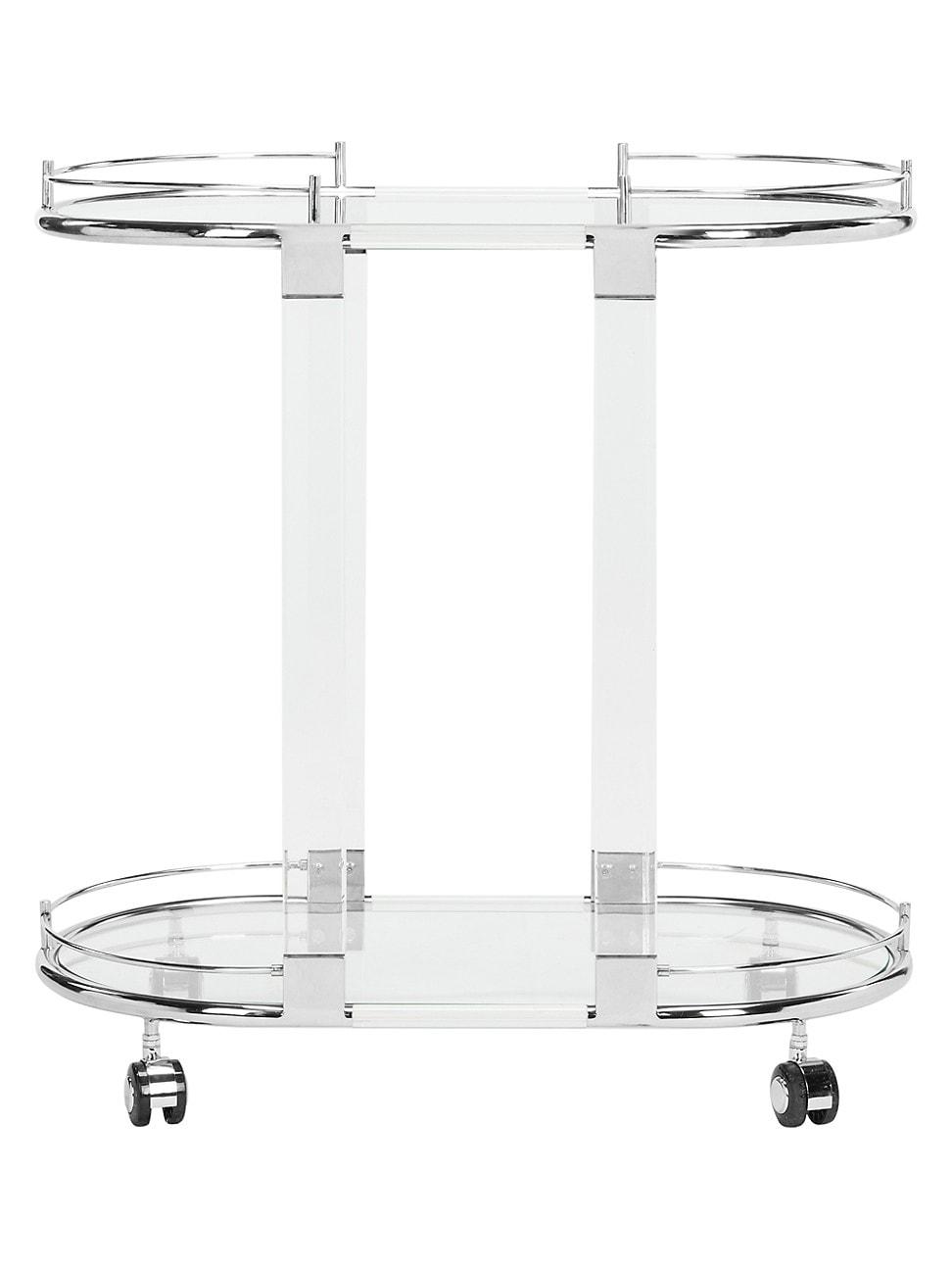 Safavieh Lennon Acrylic Bar Trolley In Silver
