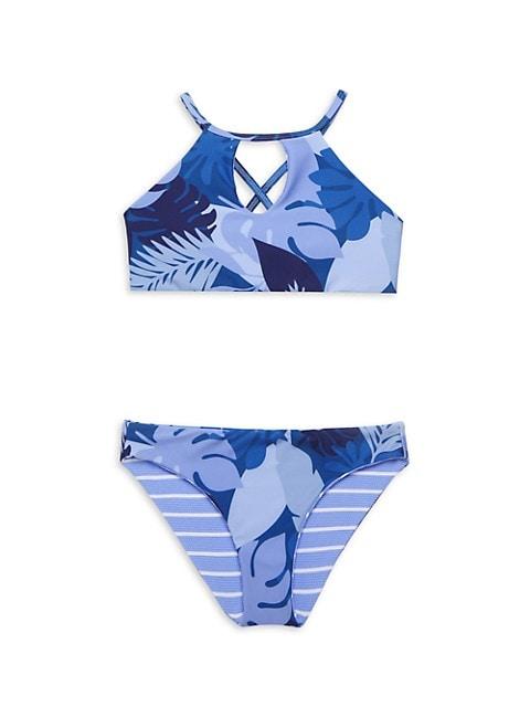 Girl's Party Palm Reversible High Neck Two-Piece Bikini