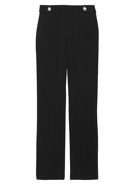 Crepe Faux Pearl Button Pants
