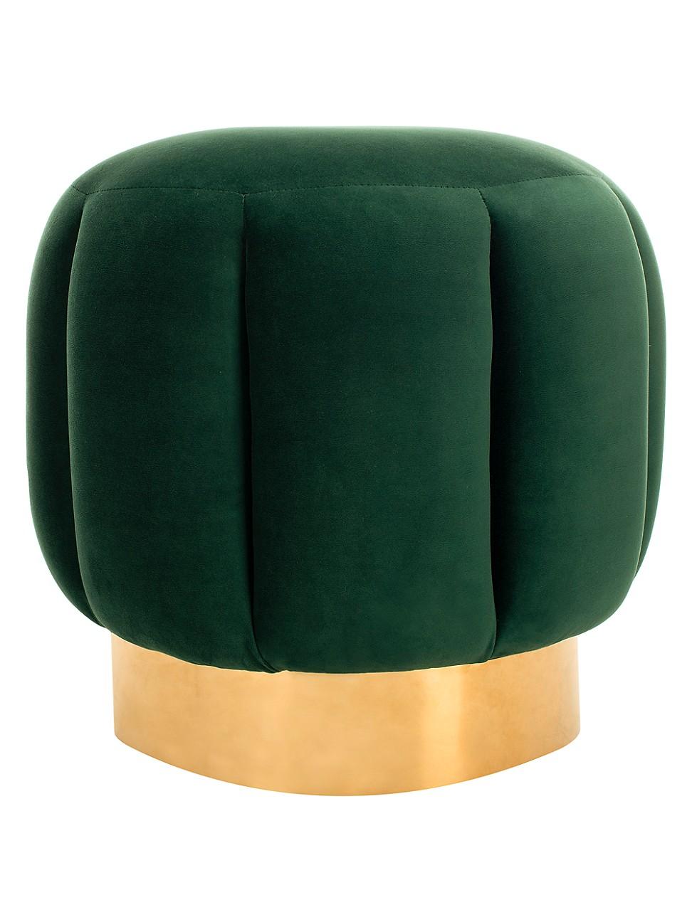 Safavieh Maxine Channel Tufted Ottoman In Emerald
