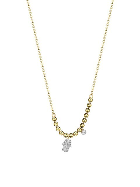 14k Yellow Gold & Diamond Hamsa Pendant Ball Chain Necklace