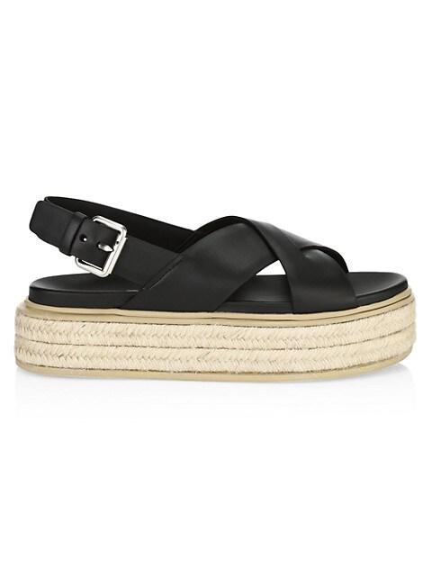 Prada Leather Flatform Espadrille Slingbacks Sandals