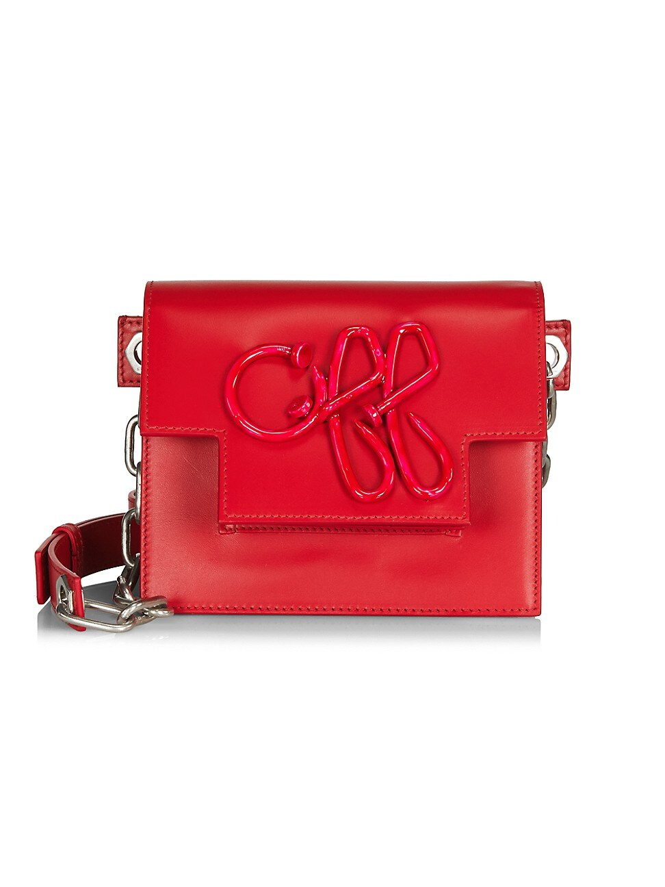 Off-white Off 3d Nail Leather Shoulder Bag In Red