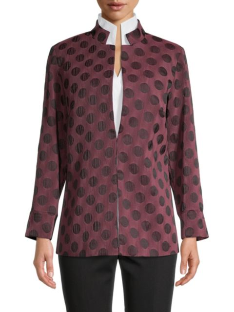 Misook Polka Dot Pleated Woven Jacket | SaksFifthAvenue
