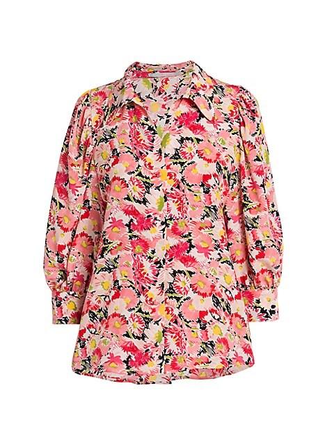 Reese Watercolor Floral Silk Shirt