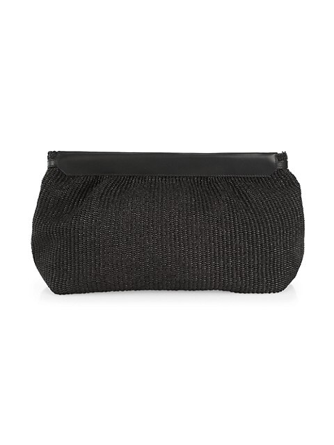 Luz Leather-Trimmed Woven Clutch