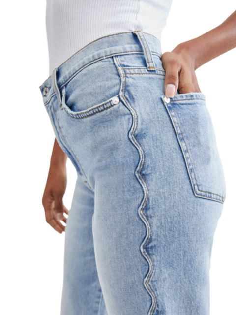 7 For All Mankind Scallop-Trim High-Rise Crop Straight Jeans   SaksFifthAvenue