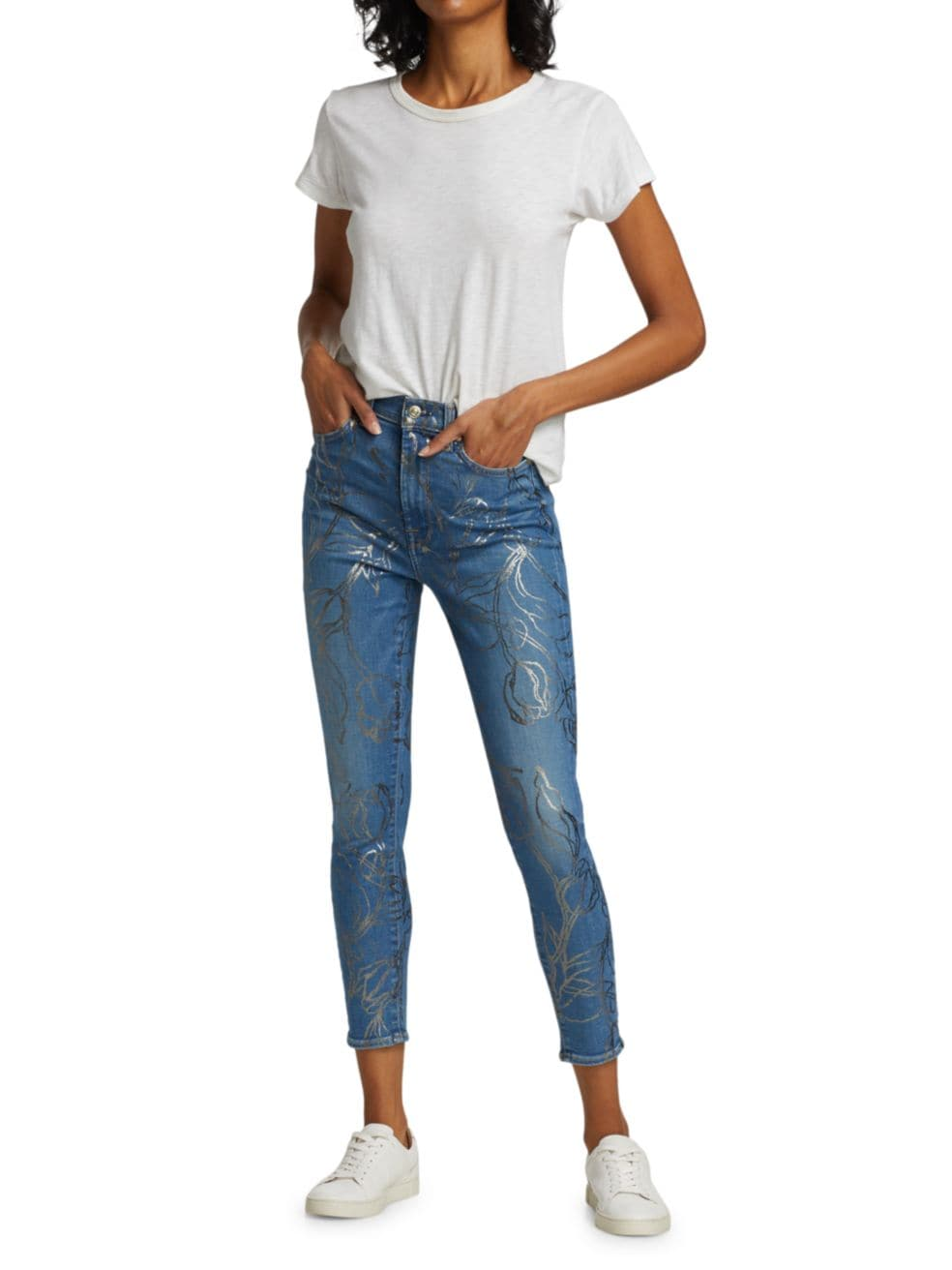 7 For All Mankind Foil Print High-Rise Ankle Skinny Jeans | SaksFifthAvenue