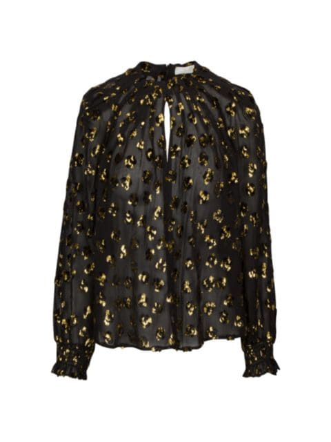 7 For All Mankind Pintuck Long-Sleeve Lurex Blouse | SaksFifthAvenue
