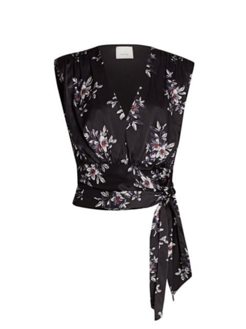 Cinq à Sept Brenna Silk Floral Wrap Top   SaksFifthAvenue