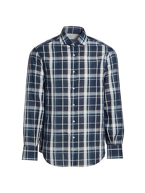 Exploded Plaid Button-Down Shirt