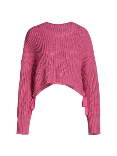 Cinq à Sept Eddie Side-Tie Crop Sweater | SaksFifthAvenue