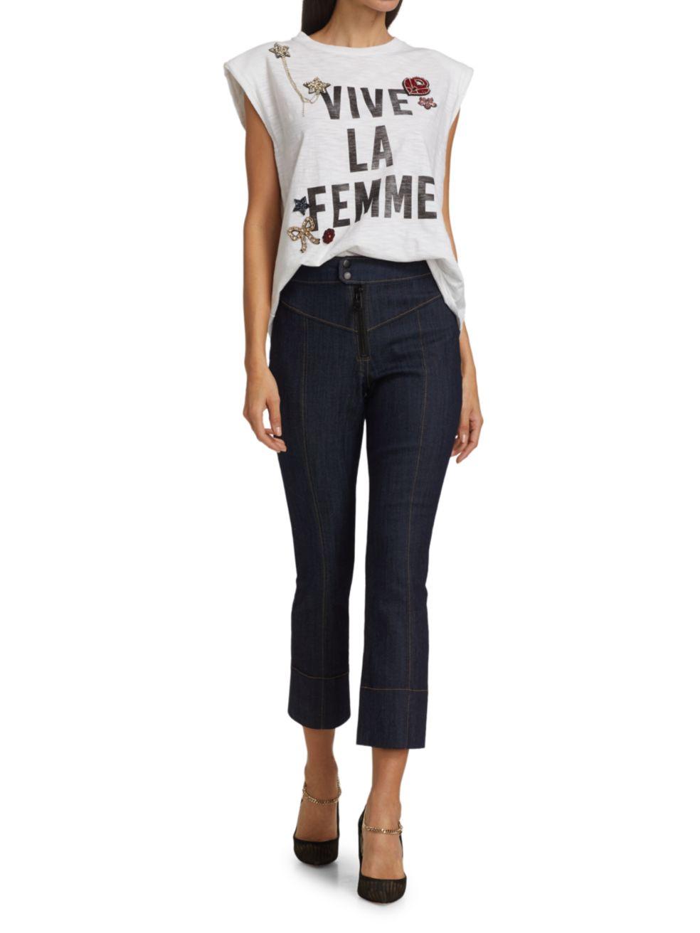 Cinq à Sept Vive La Femme Patch T-Shirt | SaksFifthAvenue