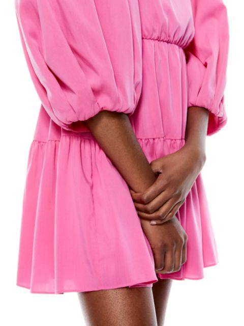 Alice + Olivia Shayla Pleated-Sleeve Tiered Mini Dress   SaksFifthAvenue