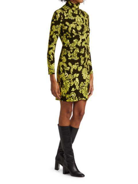 Alice + Olivia Delora Print Turtleneck Mini Dress | SaksFifthAvenue
