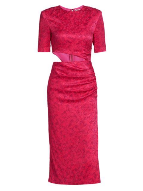 Alice + Olivia Stella Floral Jacquard Side Cutout Sheath Dress | SaksFifthAvenue