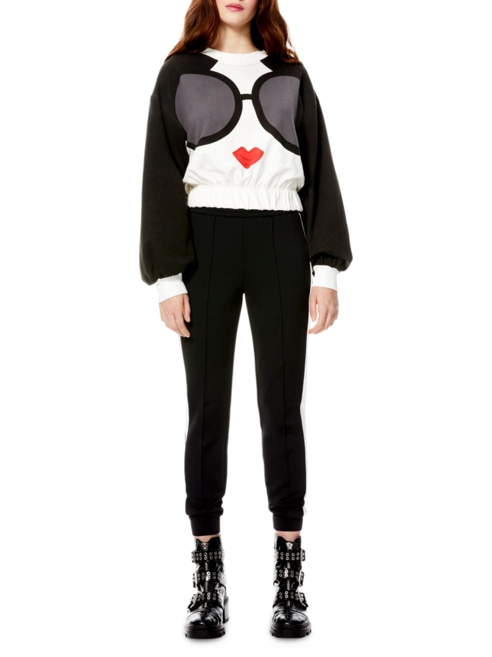 Alice + Olivia Gaia Blouson-Sleeve Cropped Sweatshirt | SaksFifthAvenue
