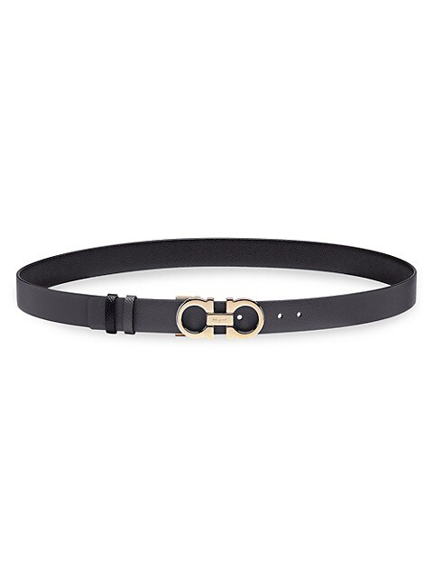 Donna Gancini Buckle Reversible Two-Tone Leather Belt