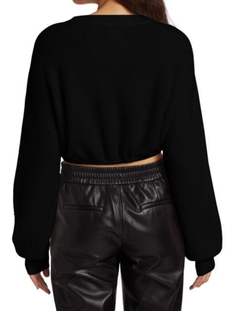 Alice + Olivia Corvina Crop Drawstring Sweater | SaksFifthAvenue