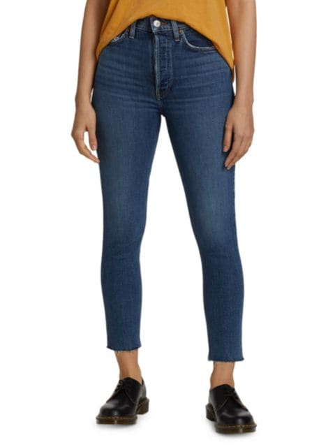 Re/done 90s High-Rise Ankle Crop Jeans | SaksFifthAvenue
