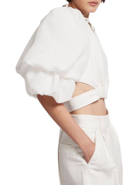 Aje Impression Puff-Sleeve Tie-Waist Crop Top | SaksFifthAvenue