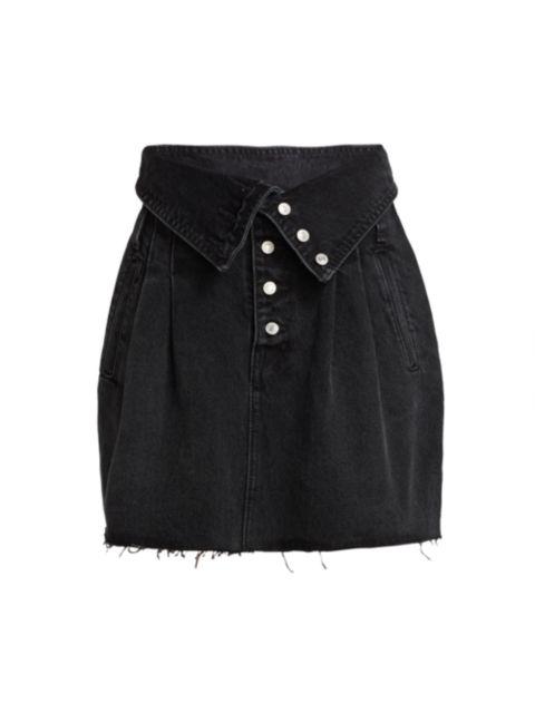 Re/done 80s Foldover Waist Denim Skirt   SaksFifthAvenue