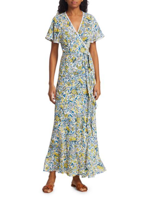 Poupette St Barth Joe Floral Print Wrap Maxi Dress   SaksFifthAvenue
