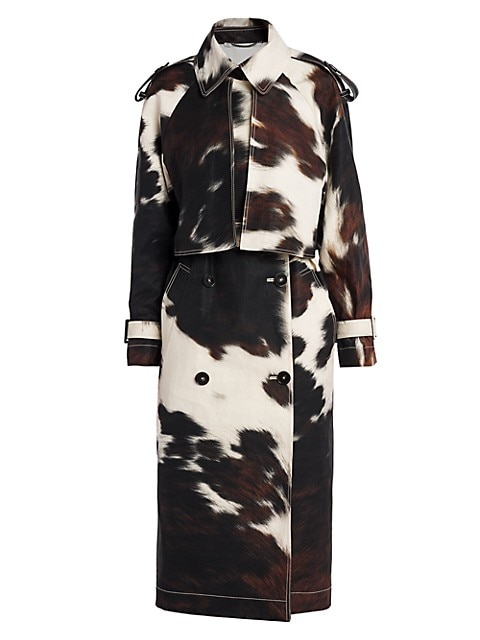 Leanna Bonded Cow-Print Trench Coat