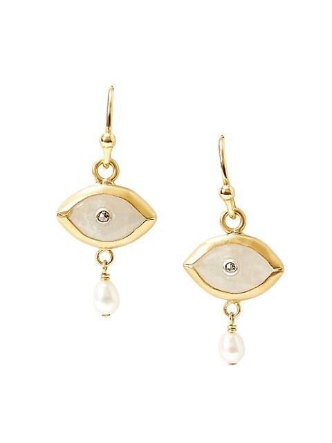 Rainbow Moonstone, 3MM Pearl & Diamond Evil Eye Drop Earrings