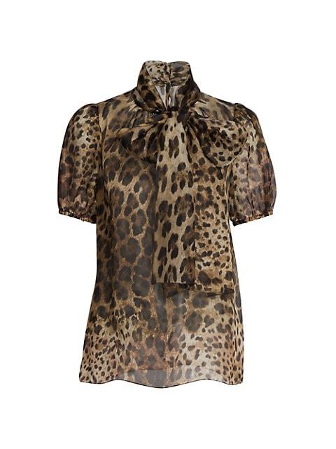 Leopard-Print Organza Silk Tieneck Blouse