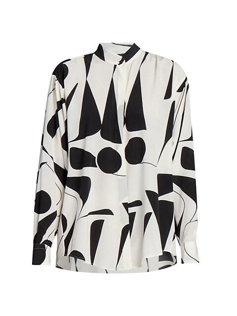 Cade Geometric Printed Stretch-Silk Blouse