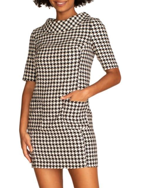 Trina Turk Maleko Houndstooth Short-Sleeve Dress | SaksFifthAvenue
