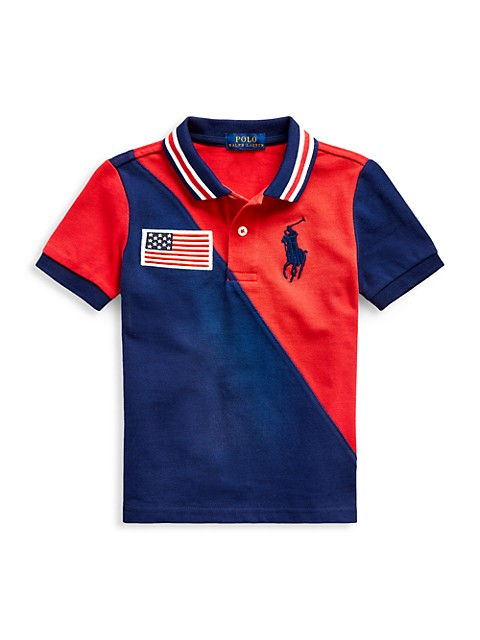 Ralph Lauren Little Boys Two-Tone Embroidered-Flag Polo