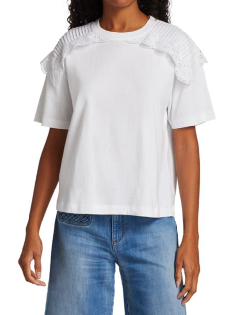 See by Chloé Lace Overlay T-Shirt | SaksFifthAvenue