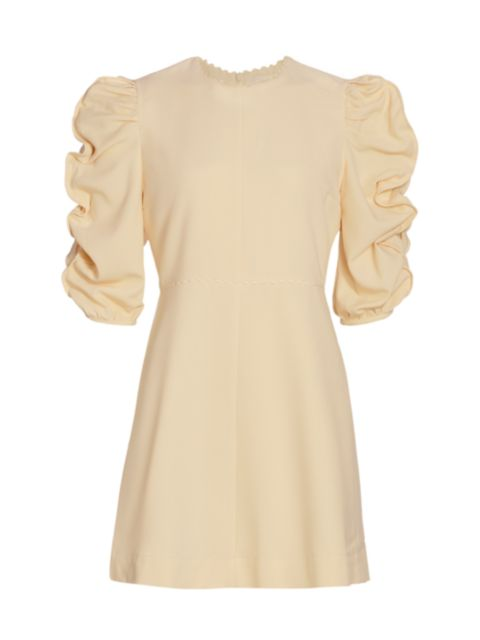 See by Chloé Ruched Puff-Sleeve A-Line Dress   SaksFifthAvenue