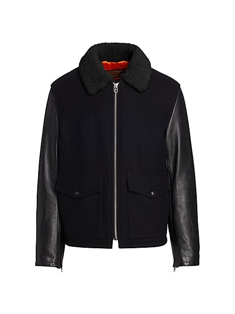 Schott Faux Shearling-Collar Deck Jacket