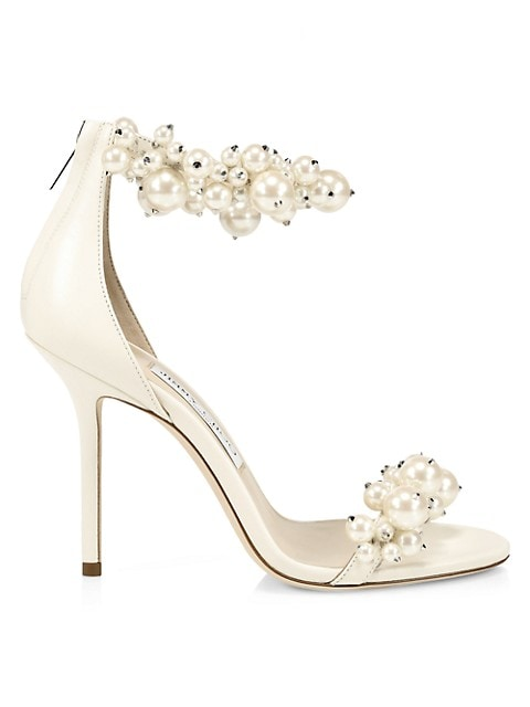 Maisel Faux Pearl-Embellished Leather Sandals
