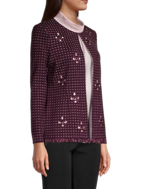 Misook Embroidered Stone Detail Tweed Jacket | SaksFifthAvenue