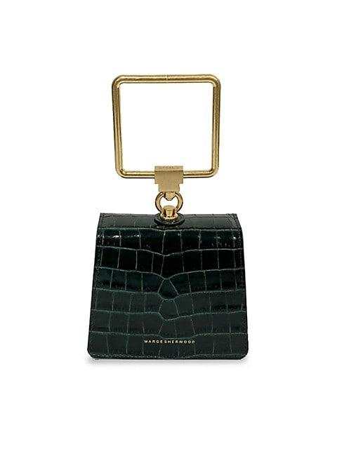 Mini Croc-Embossed Leather Bracelet Bag